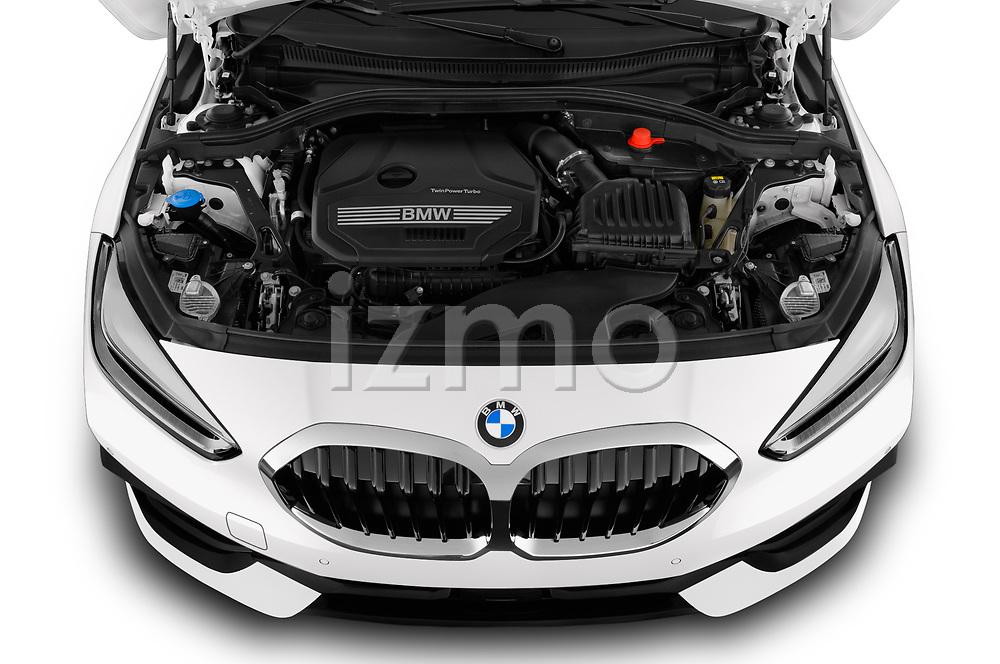 Car Stock 2020 BMW 1-Series Sport 5 Door Hatchback Engine  high angle detail view
