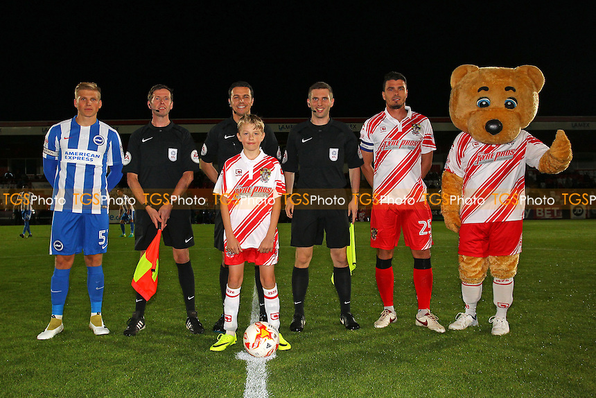 Captains, officials and mascots line up during Stevenage vs Brighton & Hove Albion Under-23, Checkatrade Trophy Football at the Lamex Stadium on 4th October 2016