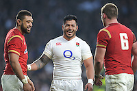 Manu Tuilagi of England shares a joke with Taulupe Faletau and Dan Lydiate of Wales after the RBS 6 Nations match between England and Wales at Twickenham Stadium on Saturday 12th March 2016 (Photo: Rob Munro/Stewart Communications)