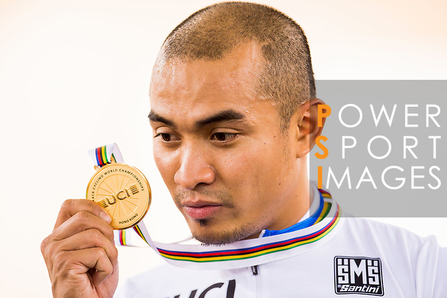 Mohd Azizulhasni Awang of the Malaysia Team celebrates his victory in the Men's Keirin Finals as part of the 2017 UCI Track Cycling World Championships on 13 April 2017, in Hong Kong Velodrome, Hong Kong, China. Photo by Marcio Rodrigo Machado / Power Sport Images