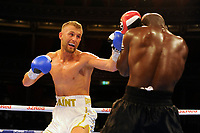 Lewis Edmonson (white shorts) defeats Gianni Antoh during a Boxing Show at the Royal Albert Hall on 27th September 2019