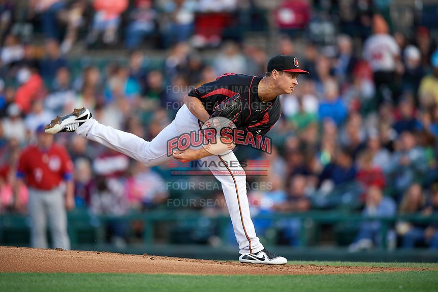 Rochester Red Wings starting pitcher Stephen Gonsalves (23) follows through on a pitch during a game against the Buffalo Bisons on August 25, 2017 at Frontier Field in Rochester, New York.  Buffalo defeated Rochester 2-1 in eleven innings.  (Mike Janes/Four Seam Images)