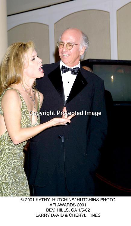 © 2001 KATHY  HUTCHINS/ HUTCHINS PHOTO.AFI AWARDS 2001.BEV. HILLS, CA 1/5/02.LARRY DAVID & CHERYL HINES