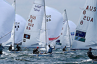 470 / Kilian WAGEN - Romuald HAUSSER (SUI)<br /> ISAF Sailing World Cup Final - Melbourne<br /> St Kilda sailing precinct, Victoria<br /> Port Phillip Bay Tuesday 6 Dec 2016<br /> &copy; Sport the library / Jeff Crow