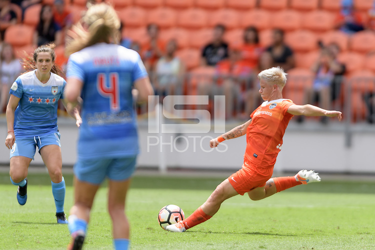 Houston, TX - Saturday April 15, 2017: Janine van Wyk passes the ball during a regular season National Women's Soccer League (NWSL) match won by the Houston Dash 2-0 over the Chicago Red Stars at BBVA Compass Stadium.