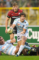 20121020 Copyright onEdition 2012©.Free for editorial use image, please credit: onEdition..Maxime Machenaud of Racing Metro 92 passes during the Heineken Cup Round 2 match between Saracens and Racing Metro 92 at the King Baudouin Stadium, Brussels on Saturday 20th October 2012 (Photo by Rob Munro)..For press contacts contact: Sam Feasey at brandRapport on M: +44 (0)7717 757114 E: SFeasey@brand-rapport.com..If you require a higher resolution image or you have any other onEdition photographic enquiries, please contact onEdition on 0845 900 2 900 or email info@onEdition.com.This image is copyright the onEdition 2012©..This image has been supplied by onEdition and must be credited onEdition. The author is asserting his full Moral rights in relation to the publication of this image. Rights for onward transmission of any image or file is not granted or implied. Changing or deleting Copyright information is illegal as specified in the Copyright, Design and Patents Act 1988. If you are in any way unsure of your right to publish this image please contact onEdition on 0845 900 2 900 or email info@onEdition.com
