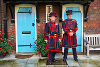 "UNITED KINGDOM, London: Two Yeomen warders attend the ancient ceremony of the ""Constable's Dues"" in the Tower of London  in central London on September 14, 2015."