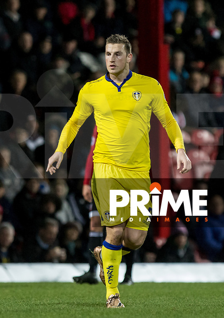 Chris Wood of Leeds United during the Sky Bet Championship match between Brentford and Leeds United at Griffin Park, London, England on 26 January 2016. Photo by Andy Rowland / PRiME Media Images.