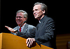 September 26, 2011; Rev. John l. Jenkins, C.S.C., president of Notre Dame on stage with Jeb Bush, Florida's former governor and founder of the Foundation for Excellence in Education at the close of Gov. Bush's address at Leighton Concert Hall as part of the 2011-2011 Notre Dame Forum. Photo by Barbara Johnston/University of Notre Dame