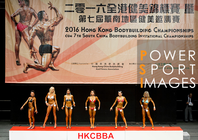 A bodybuilder competes in the Women's Model Physique category during the 2016 Hong Kong Bodybuilding Championships on 12 June 2016 at Queen Elizabeth Stadium, Hong Kong, China. Photo by Lucas Schifres / Power Sport Images