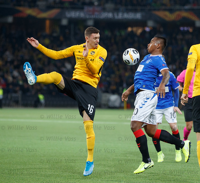 03.10.2019 Young Boys of Bern v Rangers: Christian Fassnacht and Alfredo Morelos