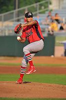 Peoria Chiefs starting pitcher Alvaro Seijas (22) throws a pitch against the Cedar Rapids Kernels at Veterans Memorial Stadium on June 16, 2018 in Cedar Rapids, Iowa. The Kernels won 12-4.  (Dennis Hubbard/Four Seam Images)