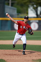 Erie SeaWolves relief pitcher Paul Voelker (7) delivers a warmup pitch during a game against the Akron RubberDucks on August 27, 2017 at UPMC Park in Erie, Pennsylvania.  Akron defeated Erie 6-4.  (Mike Janes/Four Seam Images)