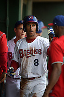 Buffalo Bisons outfielder Anthony Gose (8) fist bumps teammates after scoring a run during a game against the Pawtucket Red Sox on August 26, 2014 at Coca-Cola Field in Buffalo, New  York.  Pawtucket defeated Buffalo 9-3.  (Mike Janes/Four Seam Images)