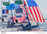 49er FX USA Paris Henken USAPH79 Helena Scutt USAHS38<br /> 49er FX FRA Sarah Steyaert FRASS1 Aude Compan FRAAC66<br /> <br /> 2016 Olympic Games <br /> Rio de Janeiro