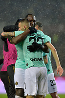 23rd November 2019; Olympic Grande Torino Stadium, Turin, Piedmont, Italy; Serie A Football, Torino versus Inter Milan; Romelu Lukaku of Inter Milan celebrates with teammates after scoring the goal for 3-0 for Inter in the 55th minute - Editorial Use