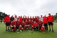 The Canterbury mens team celebrate 3rd place. National Hockey League Finals Day action, National Hockey Stadium, Wellington, New Zealand. Sunday 23 September 2018. Photo: Simon Watts/www.bwmedia.co.nz/Hockey NZ