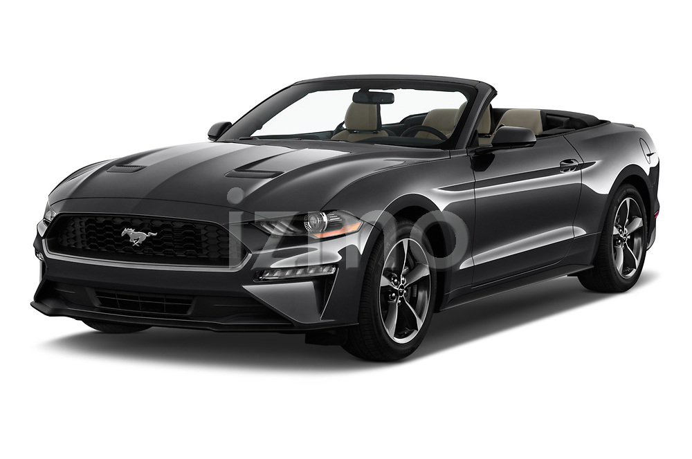2020 Ford Mustang EcoBoost 2 Door Convertible angular front stock photos of front three quarter view