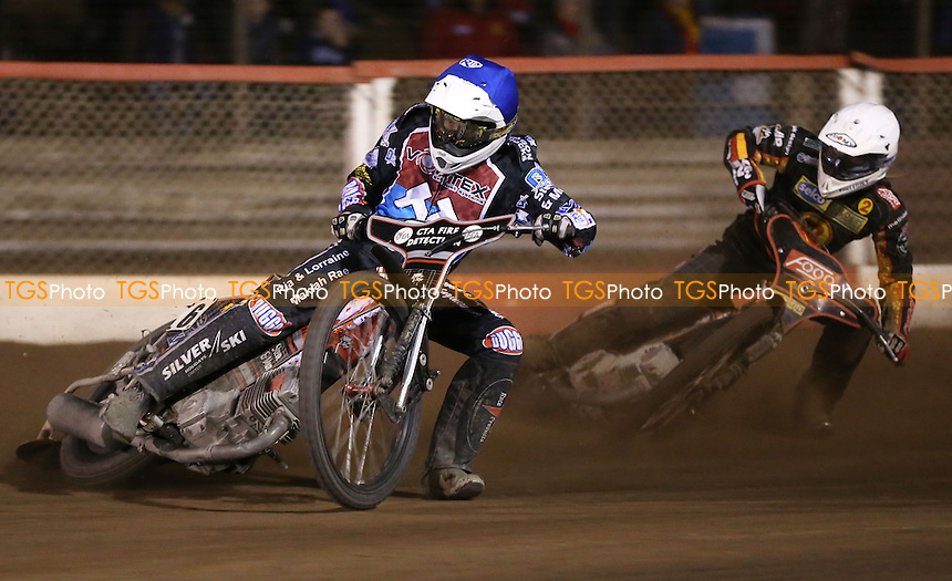 Heat 12: Ben Morley (blue) and Simon Lambert (white) - Lakeside Hammers vs Birmingham Brummies, Elite League Speedway at the Arena Essex Raceway, Pufleet - 11/04/14 - MANDATORY CREDIT: Rob Newell/TGSPHOTO - Self billing applies where appropriate - 0845 094 6026 - contact@tgsphoto.co.uk - NO UNPAID USE