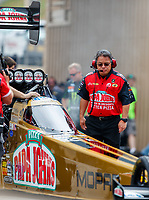 Jul 23, 2017; Morrison, CO, USA; Todd Okuhara crew chief for NHRA top fuel driver Leah Pritchett during the Mile High Nationals at Bandimere Speedway. Mandatory Credit: Mark J. Rebilas-USA TODAY Sports