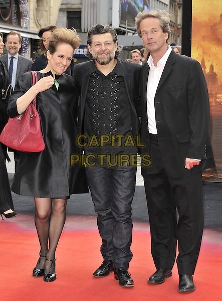 LONDON, ENGLAND - MAY 11: Lorraine Ashbourne &amp; Andy Serkis &amp; guest attend the &quot;Godzilla&quot; UK film premiere, Odeon Leicester Square cinema, Leicester Square, on Sunday May 11, 2014 in London, England, UK.<br /> CAP/CAN<br /> &copy;Can Nguyen/Capital Pictures
