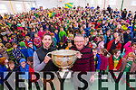 Marc O'Se and Jimmy Diggins pictured at the Sam Maguire cup at Scoil Eoin Tralee on Thursday.