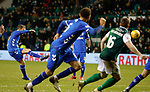 08.03.2019 Hibs v Rangers: Andy Halliday hits the bar in the last minute