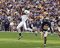 FIU wide receiver T.Y. Hilton (4) makes a catch in front of Pitt defensive back Ricky Gary (26). The Pittsburgh Panthers defeated Florida International Golden Panthers 44-17 at Heinz Field, Pittsburgh Pennsylvania on October 2, 2010.
