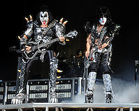 ALBUQUERQUE NM - AUGUST 7:  Gene Simmons and Paul Stanley of Kiss performs at the Hard Rock Casino Albuquerque on August 7, 2012 in Albuquerque, New Mexico. /NortePhoto.com<br />