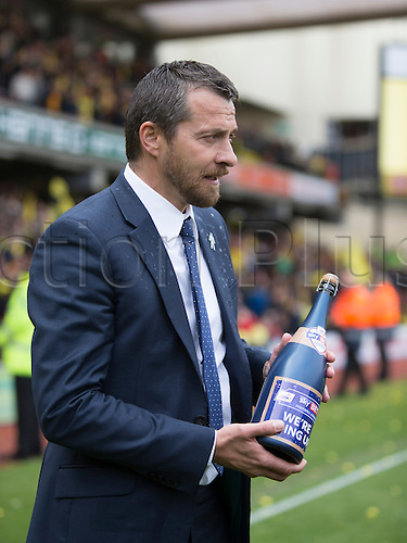 02.05.2015.  Watford, England. Skybet Championship. Watford versus Sheffield Wednesday. Slaviša Jokanović, the Watford manager with a bottle of champaign at the final  whistle.