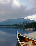 Canoe and Mt.Katahdin, Baxter State Park, Maine, USA