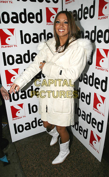 JODIE MARSH.Loaded 2004 Calendar - launch party.full length, full-length, cowboy boots, white parka coat .www.capitalpictures.com.sales@capitalpictures.com.© Capital Pictures.