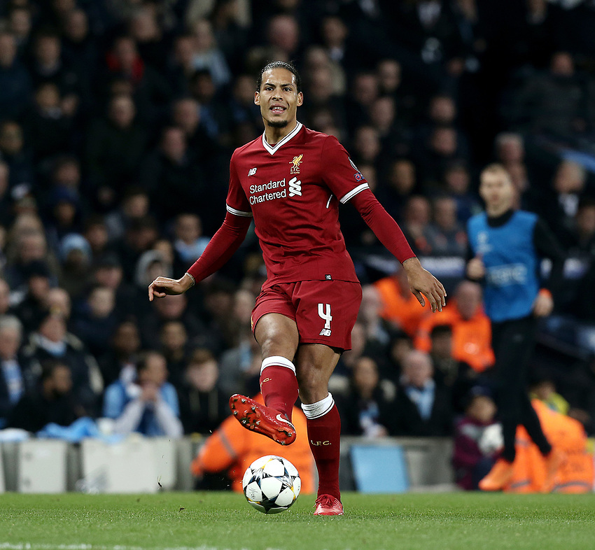 Liverpool's Virgil van Dijk<br /> <br /> Photographer Rich Linley/CameraSport<br /> <br /> UEFA Champions League Quarter-Final Second Leg - Manchester City v Liverpool - Tuesday 10th April 2018 - The Etihad - Manchester<br />  <br /> World Copyright &copy; 2017 CameraSport. All rights reserved. 43 Linden Ave. Countesthorpe. Leicester. England. LE8 5PG - Tel: +44 (0) 116 277 4147 - admin@camerasport.com - www.camerasport.com