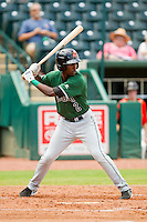 Travious Relaford (2) of the Augusta GreenJackets at bat against the Greensboro Grasshoppers at NewBridge Bank Park on August 11, 2013 in Greensboro, North Carolina.  The GreenJackets defeated the Grasshoppers 6-5 in game one of a double-header.  (Brian Westerholt/Four Seam Images)