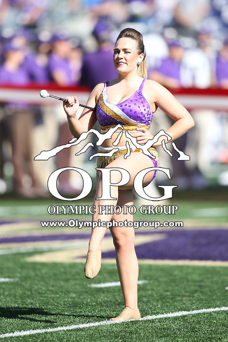 SEP 12, 2015:  Washington Baton Twirler Krissy Terwilliger entertained fans before the game against Sacramento State at Husky Stadium in Seattle, Washington. Washington won over Sacramento State 49-0.