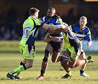 Aled Brew of Bath Rugby takes on the Sale Sharks defence. Aviva Premiership match, between Bath Rugby and Sale Sharks on February 24, 2018 at the Recreation Ground in Bath, England. Photo by: Patrick Khachfe / Onside Images