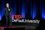 "The Rev. Dennis H. Holtschneider, C.M., president of DePaul University, offers remarks at TEDxDePaulUniversity Tuesday, April 18, 2017, in the Lincoln Park Student Center. TEDxDePaulUniversity is an independently run, self-organized event. Through the theme ""Courage to Connect"" 10 speakers from across the DePaul community challenged thoughts and inspired ideas through a series of engaging talks and presentations. (DePaul University/Jeff Carrion)"