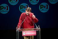 Roma, 22 Febbraio, 2013. Nanni Moretti, alla chiusura della campagna elettorale al Teatro Jovinelli.
