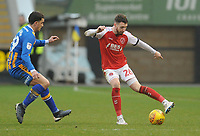 Fleetwood Town's James Husband under pressure from Shrewsbury Town's Oliver Norburn<br /> <br /> Photographer Kevin Barnes/CameraSport<br /> <br /> The EFL Sky Bet League One - Shrewsbury Town v Fleetwood Town - Tuesday 1st January 2019 - New Meadow - Shrewsbury<br /> <br /> World Copyright © 2019 CameraSport. All rights reserved. 43 Linden Ave. Countesthorpe. Leicester. England. LE8 5PG - Tel: +44 (0) 116 277 4147 - admin@camerasport.com - www.camerasport.com