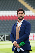 30th September 2017, Welford Road, Leicester, England; Aviva Premiership rugby, Leicester Tigers versus Exeter Chiefs;  Craig Doyle prepares to broadcast for BT sport who will televise todays matchnfrom Welford Road