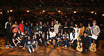 "High School student performers during the Q & A before The Rockefeller Foundation and The Gilder Lehrman Institute of American History sponsored High School student #eduHAM matinee performance of ""Hamilton"" at the Richard Rodgers Theatre on June 5, 2019 in New York City."