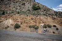 Italian National Champion Davide Formolo (ITA/Bora-Hansgrohe) descending fast<br /> <br /> Stage 6: Mora de Rubielos to Ares del Maestrat (199km)<br /> La Vuelta 2019<br /> <br /> ©kramon