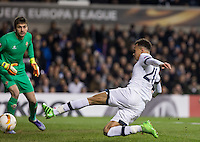 Dele Alli of Tottenham Hotspur goes close with a shot at goal during the UEFA Europa League 2nd leg match between Tottenham Hotspur and Fiorentina at White Hart Lane, London, England on 25 February 2016. Photo by Andy Rowland / Prime Media images.