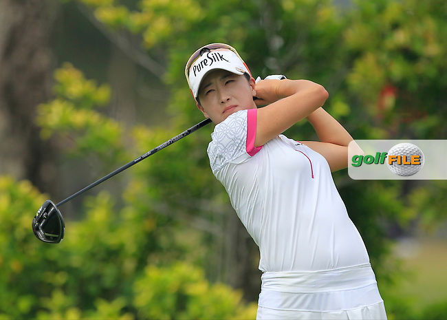 Jennifer Song (USA) on the 3rd tee during Round 2 of the HSBC Women's Champions on Friday 3rd March 2017.<br /> Picture:  Thos Caffrey / Golffile