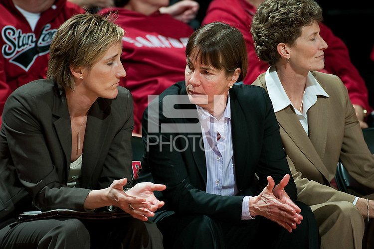 STANFORD, CA - JANUARY 6: Coach Tara VanDerveer consults with her coaching staff against the University of Arizona at Maples Pavilion, January 6, 2011 in Stanford, California.