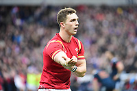 George North of Wales (14) complains to referee Wayne Barnes that a French player bit him during the RBS Six Nations match between France and Wales at Stade de France on March 18, 2017 in Paris, France. (Photo by Dave Winter/Icon Sport)