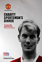 Pictured: Charity Sportsman's dinner invitation showng former footballer Kenny Morgans. Monday 14 November 2011<br /> Re: 72 year old Kenny Morgans (correct) who signed for Manchester United on leaving school in the summer of 1955 <br /> He suffered minor injuries in the Munich air disaster, when still only 18 years old and was found unconscious amongst the debris by two journalists five hours after the official search was called off.<br /> He made a full recovery following the crash but never regained his form on the pitch and later played in the lower divisions for Swansea Town and Newport County before retiring from football in 1967.
