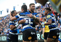 Francois Louw of Bath Rugby celebrates his first half try with team-mates. Aviva Premiership match, between Bath Rugby and Saracens on September 9, 2017 at the Recreation Ground in Bath, England. Photo by: Patrick Khachfe / Onside Images