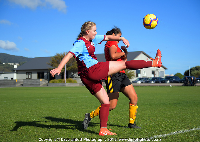 Action from the Capital Women's Premier League match between Stop Out and North Wellington at Hutt Park in Lower Hutt, New Zealand on Sunday, 28 April 2019. Photo: Dave Lintott / lintottphoto.co.nz