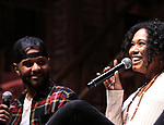 "Terrance Spencer and Raven Thomas on stage during The Rockefeller Foundation and The Gilder Lehrman Institute of American History sponsored High School student #eduHam matinee performance of ""Hamilton"" Q & A at the Richard Rodgers Theatre on November 7, 2018 in New York City."